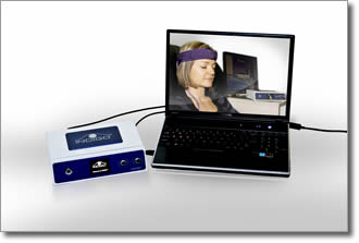 Quantum Biofeedback equipment includes a laptop, the INDIGO, head harness, and limb straps.